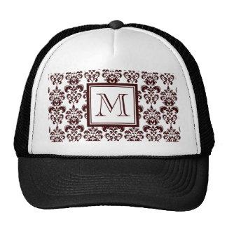Your Monogram Brown Damask Pattern 2 Trucker Hat