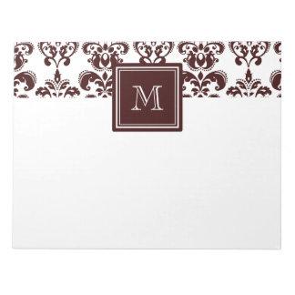 Your Monogram, Brown Damask Pattern 2 Notepad
