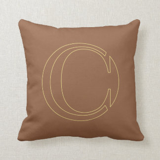 """Your monogram """"C"""" on """"iced coffee"""" background Throw Cushions"""