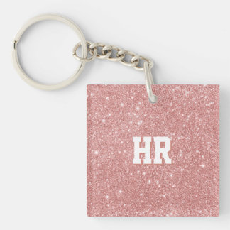 YOUR MONOGRAM Chic Luxury Faux Glitter Rose Gold Double-Sided Square Acrylic Key Ring
