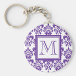 Your Monogram, Dark Purple Damask Pattern 2