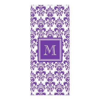 Your Monogram, Dark Purple Damask Pattern 2 10 Cm X 24 Cm Invitation Card