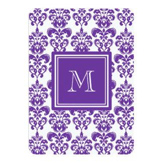 Your Monogram, Dark Purple Damask Pattern 2 11 Cm X 16 Cm Invitation Card