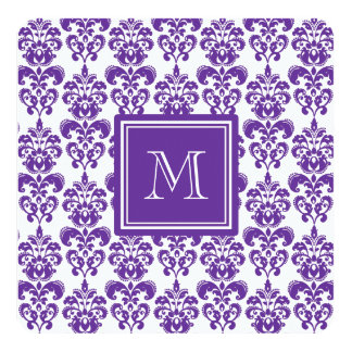 Your Monogram, Dark Purple Damask Pattern 2 13 Cm X 13 Cm Square Invitation Card