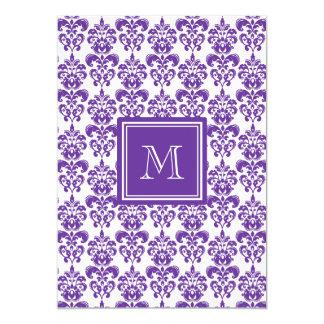 Your Monogram, Dark Purple Damask Pattern 2 13 Cm X 18 Cm Invitation Card