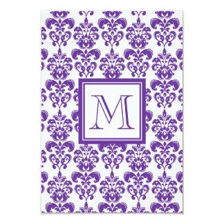 Your Monogram, Dark Purple Damask Pattern 2 9 Cm X 13 Cm Invitation Card