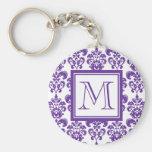 Your Monogram, Dark Purple Damask Pattern 2 Basic Round Button Key Ring