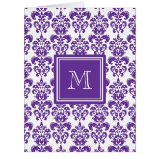 Your Monogram, Dark Purple Damask Pattern 2 Big Greeting Card