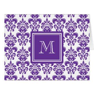 Your Monogram, Dark Purple Damask Pattern 2 Cards