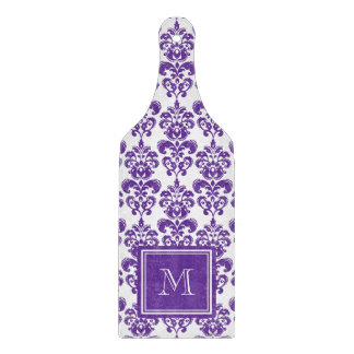 Your Monogram, Dark Purple Damask Pattern 2 Cutting Board