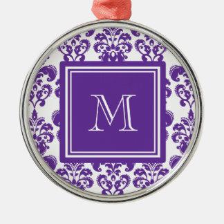 Your Monogram, Dark Purple Damask Pattern 2 Christmas Tree Ornaments