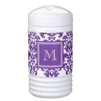 Your Monogram, Dark Purple Damask Pattern 2 Drinks Cooler