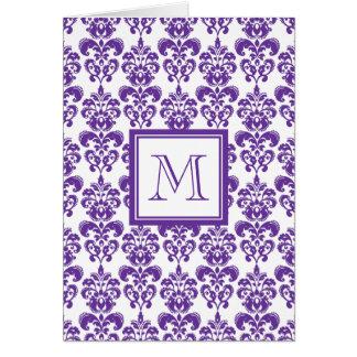 Your Monogram, Dark Purple Damask Pattern 2 Greeting Card