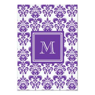 Your Monogram, Dark Purple Damask Pattern 2 3.5x5 Paper Invitation Card