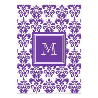 Your Monogram, Dark Purple Damask Pattern 2 Personalized Announcement