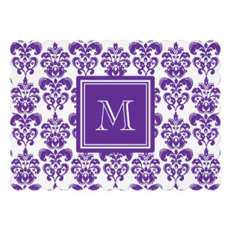 Your Monogram, Dark Purple Damask Pattern 2 Invitation