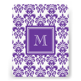 Your Monogram Dark Purple Damask Pattern 2 Personalized Announcements