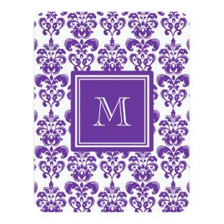 Your Monogram, Dark Purple Damask Pattern 2 Personalized Announcements