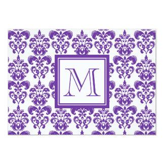 Your Monogram, Dark Purple Damask Pattern 2 Custom Invites