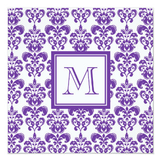 Your Monogram, Dark Purple Damask Pattern 2 5.25x5.25 Square Paper Invitation Card