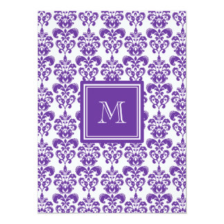 Your Monogram, Dark Purple Damask Pattern 2 Personalized Announcement