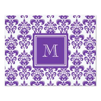 Your Monogram, Dark Purple Damask Pattern 2 4.25x5.5 Paper Invitation Card