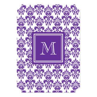 "Your Monogram, Dark Purple Damask Pattern 2 5"" X 7"" Invitation Card"
