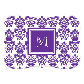 Your Monogram, Dark Purple Damask Pattern 2 5x7 Paper Invitation Card
