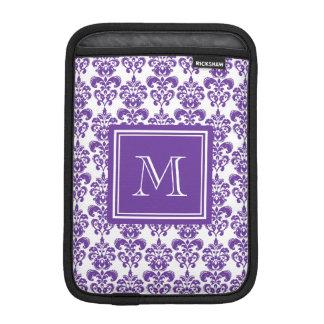 Your Monogram, Dark Purple Damask Pattern 2 iPad Mini Sleeve
