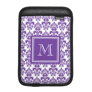 Your Monogram, Dark Purple Damask Pattern 2 iPad Mini Sleeves