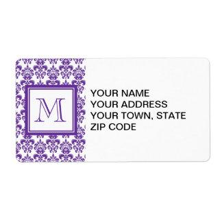 Your Monogram, Dark Purple Damask Pattern 2 Shipping Label