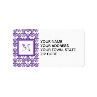 Your Monogram, Dark Purple Damask Pattern 2 Address Label