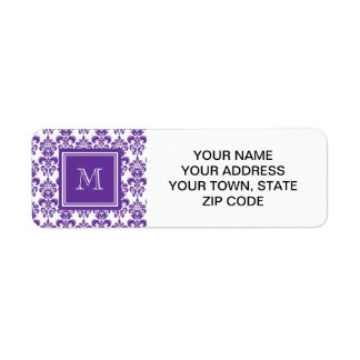 Your Monogram, Dark Purple Damask Pattern 2 Return Address Label