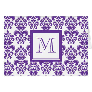 Your Monogram, Dark Purple Damask Pattern 2 Note Card