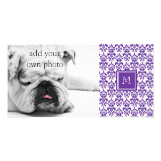 Your Monogram Dark Purple Damask Pattern 2 Personalized Photo Card