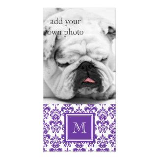 Your Monogram, Dark Purple Damask Pattern 2 Photo Card Template