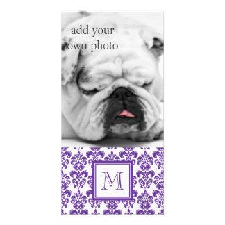 Your Monogram, Dark Purple Damask Pattern 2 Photo Cards