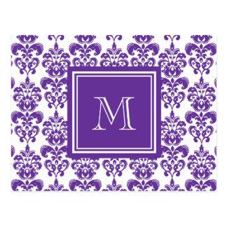 Your Monogram, Dark Purple Damask Pattern 2 Post Card