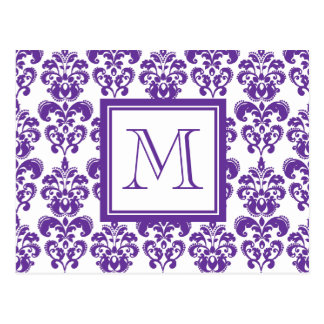 Your Monogram, Dark Purple Damask Pattern 2 Postcard