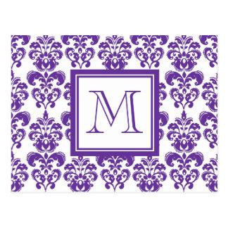 Your Monogram, Dark Purple Damask Pattern 2 Post Cards