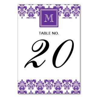 Your Monogram, Dark Purple Damask Pattern 2 Table Card