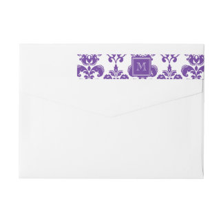 Your Monogram, Dark Purple Damask Pattern 2 Wraparound Return Address Label