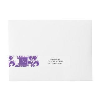 Your Monogram, Dark Purple Damask Pattern 2 Wraparound Address Label