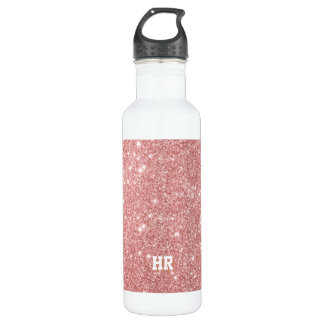 YOUR MONOGRAM Elegant Chic Faux Glitter Rose Gold 710 Ml Water Bottle