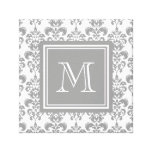 Your Monogram, Grey Damask Pattern 2 Gallery Wrapped Canvas