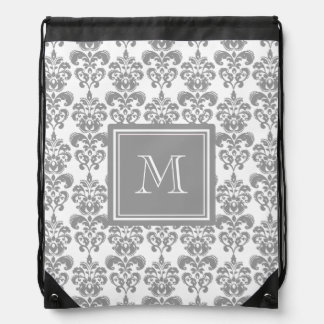 Your Monogram, Grey Damask Pattern 2 Drawstring Bag