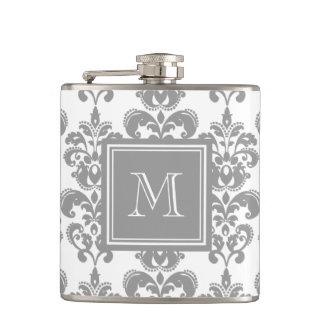 Your Monogram, Grey Damask Pattern 2 Hip Flask
