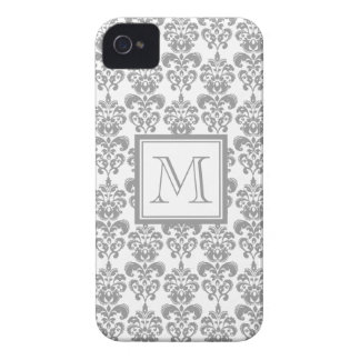 Your Monogram, Grey Damask Pattern 2 iPhone 4 Cover