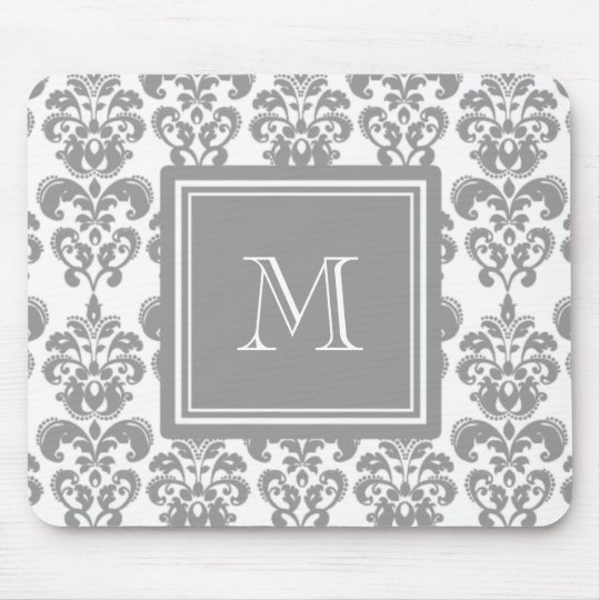 Your Monogram, Grey Damask Pattern 2 Mouse Mat
