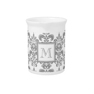 Your Monogram, Grey Damask Pattern 2 Pitcher